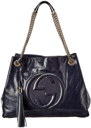 Gucci Navy Blue Patent Leather Chain Soho Bag