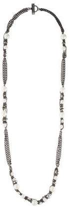 Givenchy Faux Pearl & Crystal Long Necklace