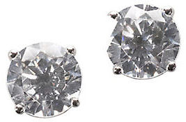 LORD & TAYLOR Platinum Plated Sterling Silver Round Signity Cubic Zirconia Basket Set Stud Earrings
