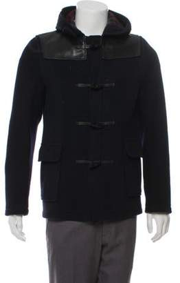 Junya Watanabe Comme des Garçons Leather-Trimmed Duffle Coat navy Comme des Garçons Leather-Trimmed Duffle Coat