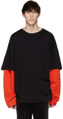 Juun.J SSENSE 限定 ブラック & オレンジ レイヤード ロング スリーブ T シャツ