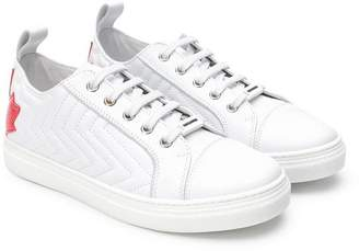 DSQUARED2 TEEN ribbed maple leaf logo sneakers