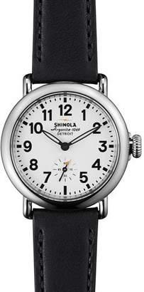 Shinola Runwell Watch with Black Leather Strap, 36mm