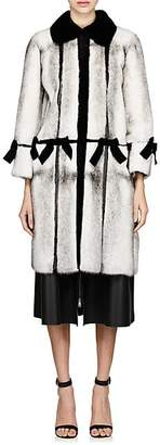 Fendi Women's Bow-Embellished Fur Coat - Gray