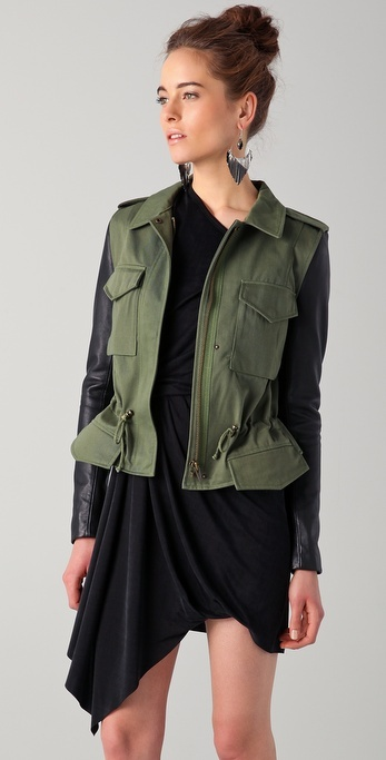 Veda Jasper Jacket with Leather Sleeves