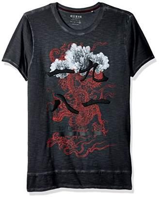 GUESS Men's Floral 1981 Long Line T-Shirt