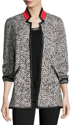 Ming Wang Faux-Leather Trim Open-Front Jacket, Multi $189 thestylecure.com