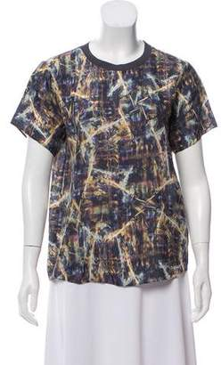 Theyskens' Theory Silk Printed Short Sleeve Top