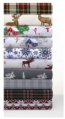 Tribeca Living Printed Cotton Flannel Extra Deep Pocket Sheet Set