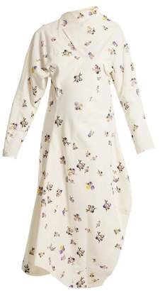 Acne Studios Dragica Floral Print Cotton Corduroy Dress - Womens - Ivory Multi