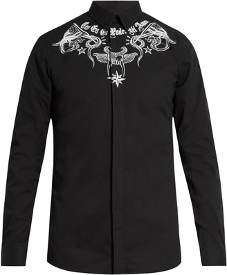 GIVENCHY Contemporary-fit tattoo-print single-cuff shirt $395 thestylecure.com