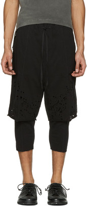 The Viridi-anne Black Destroyed Layered Shorts $565 thestylecure.com