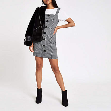 Womens Petite Grey check button pinafore mini dress