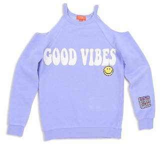 Butter Shoes Girls' Good Vibes Cold Shoulder Sweatshirt - Big Kid