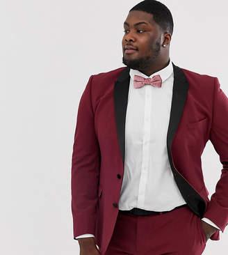 87d15af850 Asos Design DESIGN Plus super skinny tuxedo suit jacket in burgundy