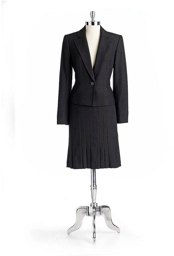 Anne Klein Two-Piece Pleated Skirt Suit