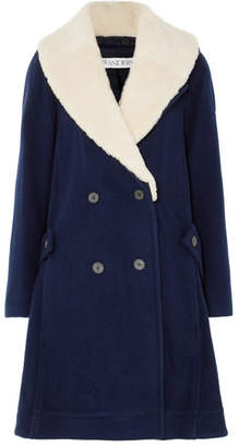 J.W.Anderson Oversized Shearling-trimmed Wool Coat - Navy