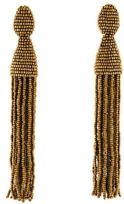Oscar de la Renta Bead Classic Long Tassel Clip-On Earrings