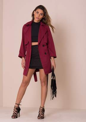 Missy Empire Missyempire Alessa Wine Trench Coat