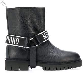 Moschino logo strap boots