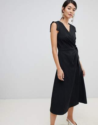 Closet London wrap front tie side pencil dress in stripe