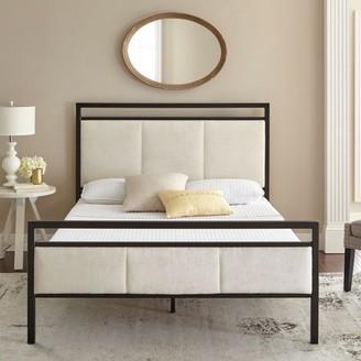 Premier Isaac Platform Metal Bed Frame with Bonus Base Wooden Slat System, Multiple Sizes
