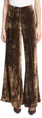 Co Metallic Crinkle-Velvet Palazzo Pants, Brown