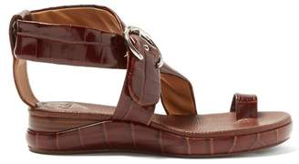 Chloé Crocodile Embossed Leather Sandals - Womens - Brown