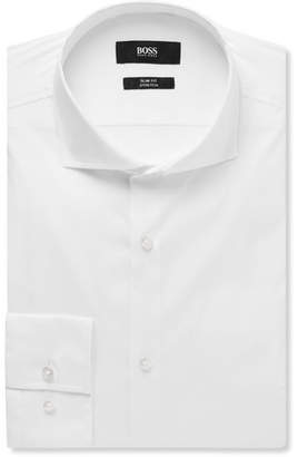 HUGO BOSS White Jason Slim-Fit Cutaway-Collar Stretch Cotton-Blend Shirt - White