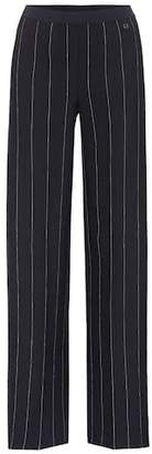 Salvatore Ferragamo Striped crêpe wide-leg trousers