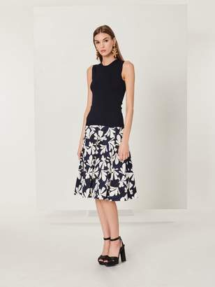 Oscar de la Renta Tossed Seaweed Stretch-Cotton Skirt