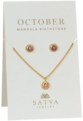 Satya Birthstone Necklace & Earrings Set, Goldtone Brass