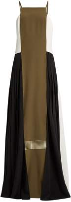 ZEUS + DIONE Maya pleated-side panelled silk dress