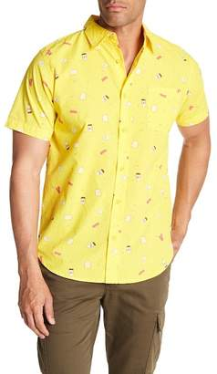Straight Faded Breakfast Patterned Short Sleeve Modern Fit Shirt