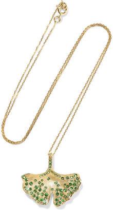 Aurelie Bidermann Ginkgo 18-karat Gold Tsavorite Necklace