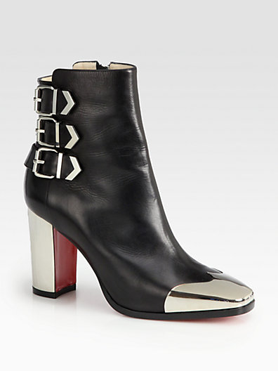Christian Louboutin Chelita Leather & Metal Wing-Tip Ankle Boots