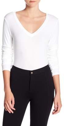 Michael Stars V-Neck Ribbed Knit Long Sleeve Shirt