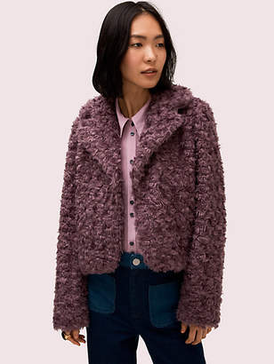 Kate Spade Faux Fur Jacket, Dark Orchid - Size 0
