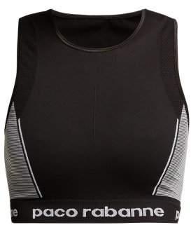 Paco Rabanne Technical Logo Jacquard Sports Bra - Womens - Black White