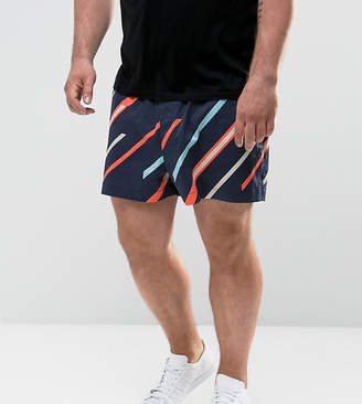 Asos DESIGN PLUS Slim Shorter Shorts with Elasticated Waist and Line Print