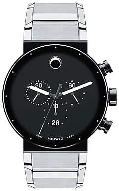 Movado 0606800 Men's Synergy Chronograph Bracelet Strap Watch, Silver/Black