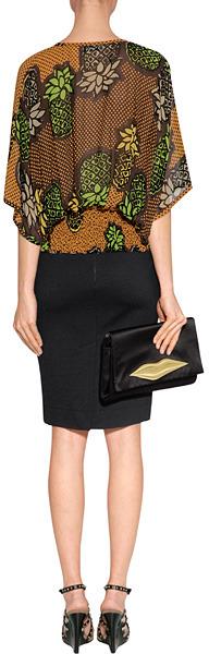 Moschino Cheap & Chic Moschino Cheap and Chic Mandarin/Apple-Multi Flower Print Silk Tunic Top