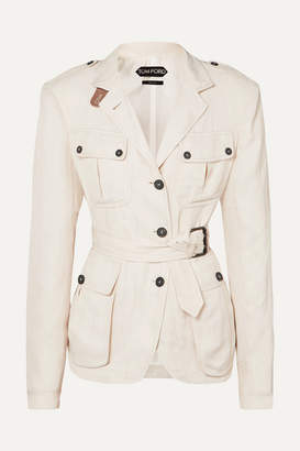 Tom Ford Belted Leather-trimmed Twill Jacket - Beige