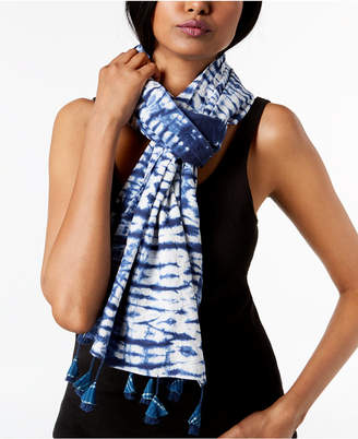 Eileen Fisher Organic Cotton Printed Tasseled Scarf