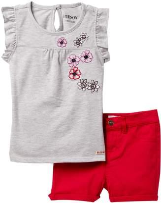Hudson A-Line Floral Applique Top & Shorts Set (Toddler Girls)