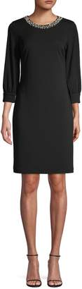 Karl Lagerfeld Paris Three-Quarter-Sleeve Pearl Embellished Dress