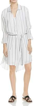 Halston Striped High/Low Shirt Dress