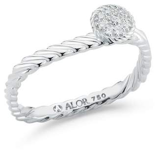 Alor 18K White Gold Diamond Ring - Size 7 - 0.05 ctw