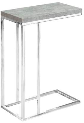 Monarch Specialties MONARCH - ACCENT TABLE - GREY CEMENT WITH CHROME METAL