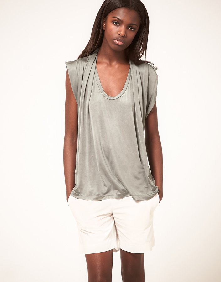 Hussein Chalayan Greylin Chalayan Gray Line Top With Scarf Neck